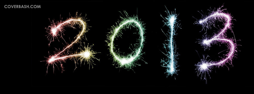 new year 2013 in colored firework facebook cover