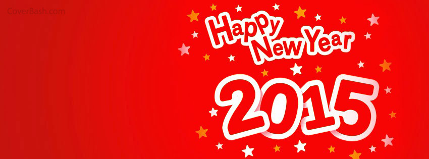 starry red happy new year 2015 facebook cover