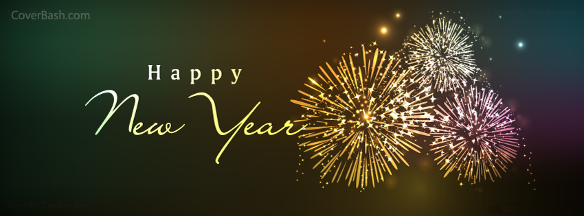Happy New Year Fire Works Facebook Cover - CoverBash.com