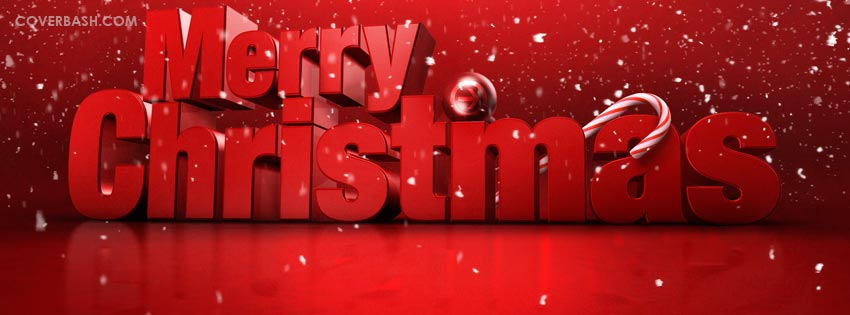 big red merry christmas facebook cover