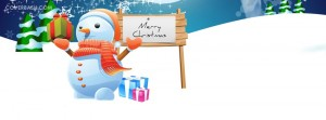 snowman merry christmas facebook cover