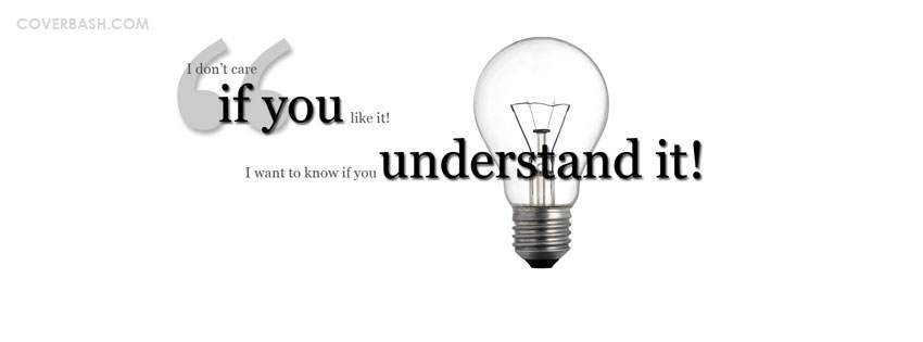 understand it..! facebook cover