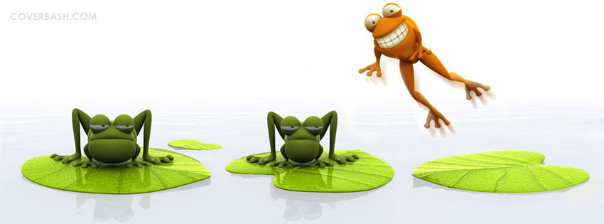 funny frog jumping facebook cover